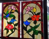 Custom Made To Order - Cabinet Inserts - Iridescent Hummingbirds and Flowers