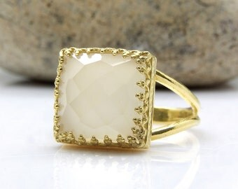 SALE - Square gold ring,semiprecious ring,natural stone ring,white onyx ring,14k gold filled rings,faceted gemstones ring