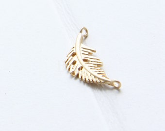 4pcs / Leaf / Matte 16K Gold / Real Gold / Brass Base / Link (CF367//P137)
