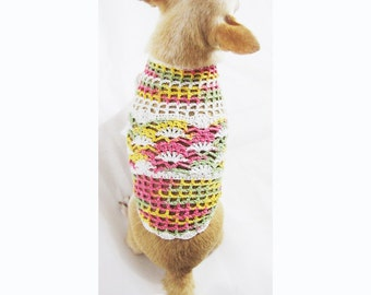 Cute Dog Clothes Net Crochet Mesh Colorful Teacup Chihuahua Sweaters Pet Accessories Handmade DK958 By Myknitt - Free Shipping