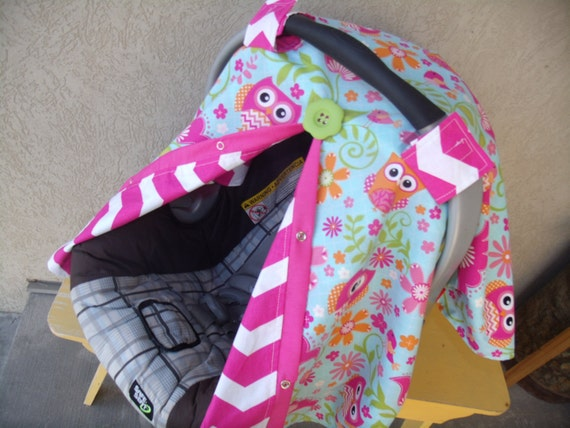 Like this item? & Carseat canopy Girl Owl Chevron car seat cover car seat canopy