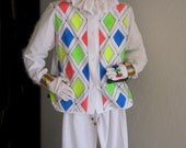 Handmade Neon Blacklight  Glow Mardi Gras Harlequin Jester Halloween Costume