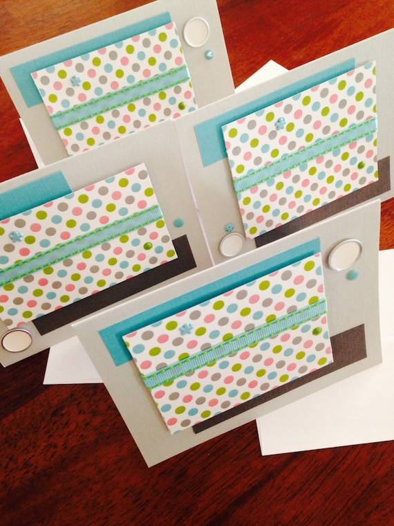 ON SALE - The Samanatha Note Card - teal, pink, grey, lime and silver