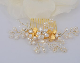 Anya-18K  Gold plated  Orchid and Freshwater Pearl Bridal Comb