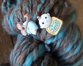 Art Yarn, Handspun Art Yarn,It's A Boy, 122 yards,2 ply,bulky yarn, Wool Yarn