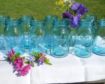 CHEAP-10 Vintage Blue Ball Perfect Mason quart canning jars-wedding vases-crafts-storage