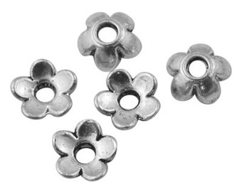 Bead Caps : 100 Antique Silver Flower Bead Caps ... 6.5mm -- Lead & Cadmium Free Jewlery Findings 10006.U