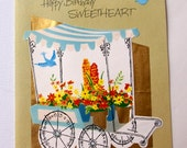 1960s vintage Happy Birthday Sweetheart card, unused, with envelope