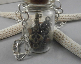 Key and Tiger's Eye Stone Filled Vial Necklace