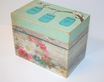 Wedding Guest Book Box, Mason Jars Recipe Box, Tree Branch Box, Recipe box, 4x6 Recipe Box