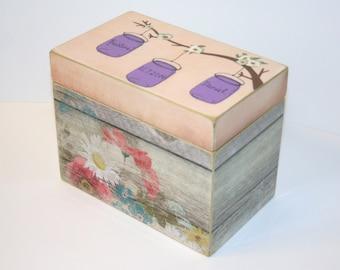 Wedding Guest Book Box, Mason Jars on a Tree Branch, 4x6 Recipe Box, YOU DESIGN IT, Handmade 4 x 6 Wooden Recipe Box