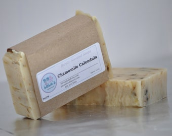 Chamomile Calendula Soap -- All Natural Soap, Handmade Soap, Barely Scented Soap, Hot Process Soap, Vegan Soap, Tea Soap