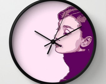 Audrey Hepburn Wall Clock - Audrey Hepburn - Purple Violet Pink - Wall Clock - Original Design - Home decor by Adidit