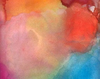 Abstract Art Print, Watercolor Painting, Glow