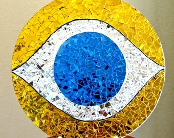 Stained Glass Mosaic Circular Evil Eye Hanging Indoors Outdoors w/Gold, Silver and Blue Mirror
