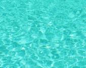 Swimming Pool photograph, Aqua Blue Water Print, Swimming, Ripples on Water, Teal Wall Art 8x8