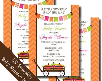 LITTLE PUMPKIN Baby Shower Invitation - Printable - DIY
