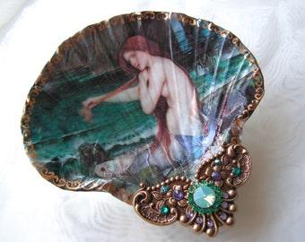 Jewelry Dish, Mermaid Shell, Trinket Dish, Ring Dish, Jewelry Dish