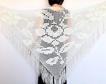 Ivory shawl Wedding shawl White scarf  Beach cover-up Wraps shawls Crochet shawl  Lace shawl