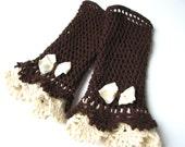 Brown Cream Victorian lace mittens