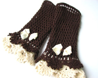 Brown Cream Victorian lace mittens