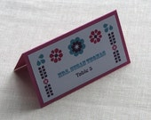 Mexican Folk Tent Place Card - Mexico Floral Tile Escort Card - Name Card - Custom Colors