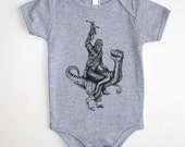 Chewbacca Riding Velociraptor Dinosaur Baby One Piece Outfit- American Apparel - Available in 3-6MO, 6-12MO, 12-18MO