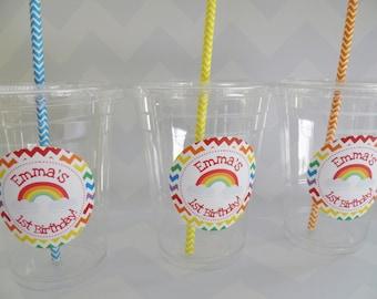 Chevron Rainbow/Art Party Cups, Lids & Straws - Set of 24