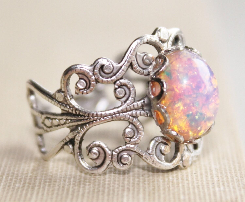 vintage silver opal ringharlequin opalsilver adjustable