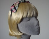 Black Headband- Black-Pink-Lilac Floral Bow Headband