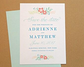 Save the Date Wedding Card, Vintage Wildflowers