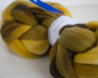 SUPER SOFT Malabrigo Nube Hand Dyed 100% merino wool top - 31 Mostaza - Luxury fiber for HandSpinning Needlefelting Felting Thrumbed Mittens