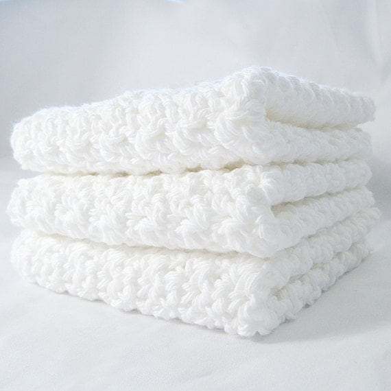 Dishcloth Set Crisp White Cotton Crochet - 3 Pack Extra Large XL