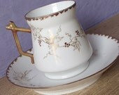 Antique 1880's Victorian tea cup and saucer, hand painted tea cup, demitasse tea cup, gold and white china tea cup, porcelain tea cup