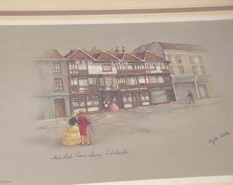 Antique English art print, The Red Lion Inn by Clyde Cole, 1940's lithograph of Old World England, Victorian couple, antique print framed