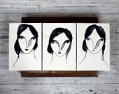 LAST, art, painting, portrait, original painting, THREE SISTERS, series of 3