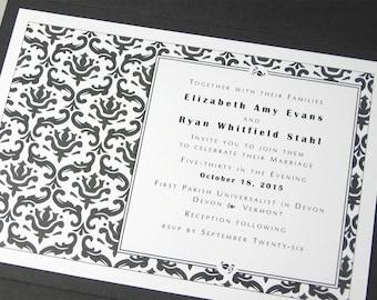 Traditional Wedding Invitation Elegant Black White Damask Pocketfold Invite Classic Wedding Pocket Custom Wedding Invitation
