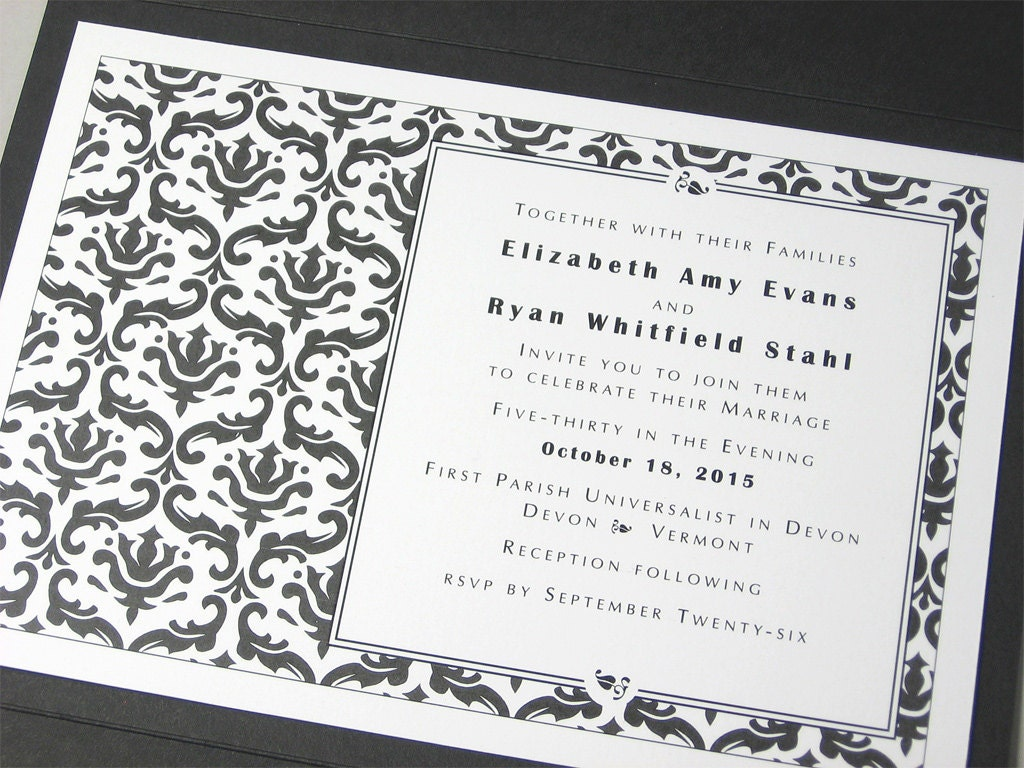 Traditional Elegant Wedding Invitations: Traditional Wedding Invitation Elegant Black White Damask