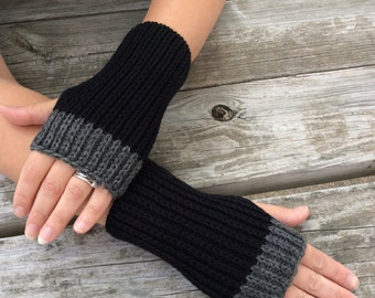 Men's Fingerless gloves, Mens Gloves,  Hand Warmers, Texting Gloves, Wrist warmers, black and grey