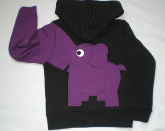 Toddler girls zip front hoodie, hooded sweatshirt, black with purple elephant trunk sleeve, elephant back,  4T or 5T
