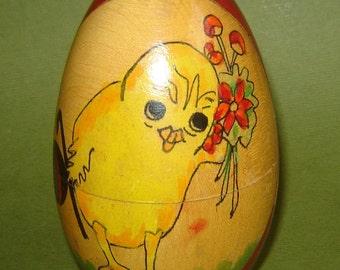 "Antique 1900 wOODEN cARVED hANDPAINTED Chicken EASTER NESTING EGG fOLK aRT 4 1/2"" tall"