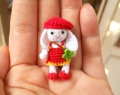 Bunny Rabbit Girl - Amigurumi Crochet Tiny Stuffed Animal - Made To Order