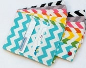 Small Chevron Business Card Wallet Single Fabric Design with Snap Closure