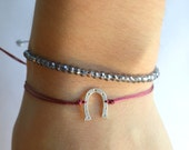 925 Stamped Sterling Silver Lucky Horseshoe Bracelet (51 Colors) FOUR LEFT