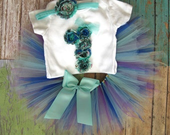 Baby's First Birthday Peacock Tutu Set with Matching Headband | Birthday Photo Prop, Party Dress | Other Sizes Available