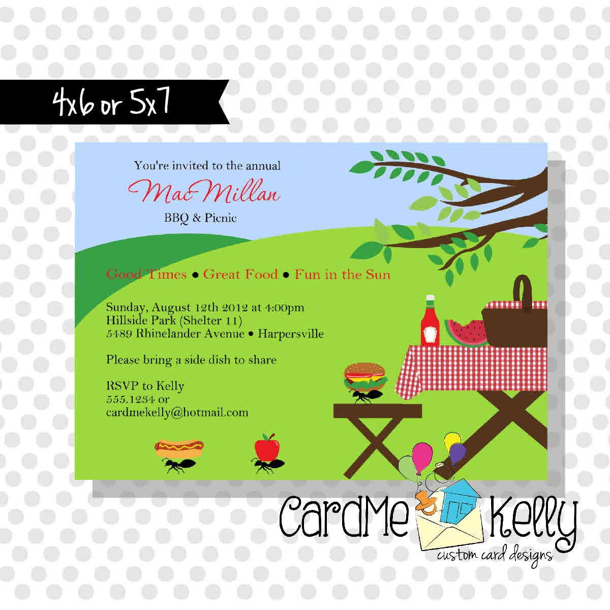 Printable Summer Picnic Family Reunion Park Grilling Party – Reunion Party Invitations