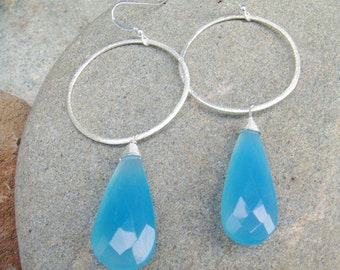 Hammered Silver Hoop Earrings - Sky Blue Chalcedony Earrings - Large Hoop Dangle Earrings - Sterling Silver - Blue Teardrop Earrings
