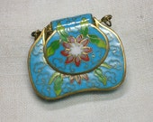 Chinese Cloisonne Pendant shaped like a Purse, Possibly Antique. Focal Bead