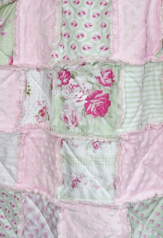 Baby Girl Rag Quilt Shabby Chic Pink Green Nursery