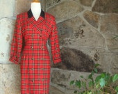 90s PLAID SUIT DRESS vintage coat dress double breasted Clueless red black gold M L 12